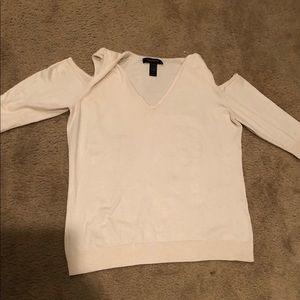 Cream cold shoulder V Neck Sweater